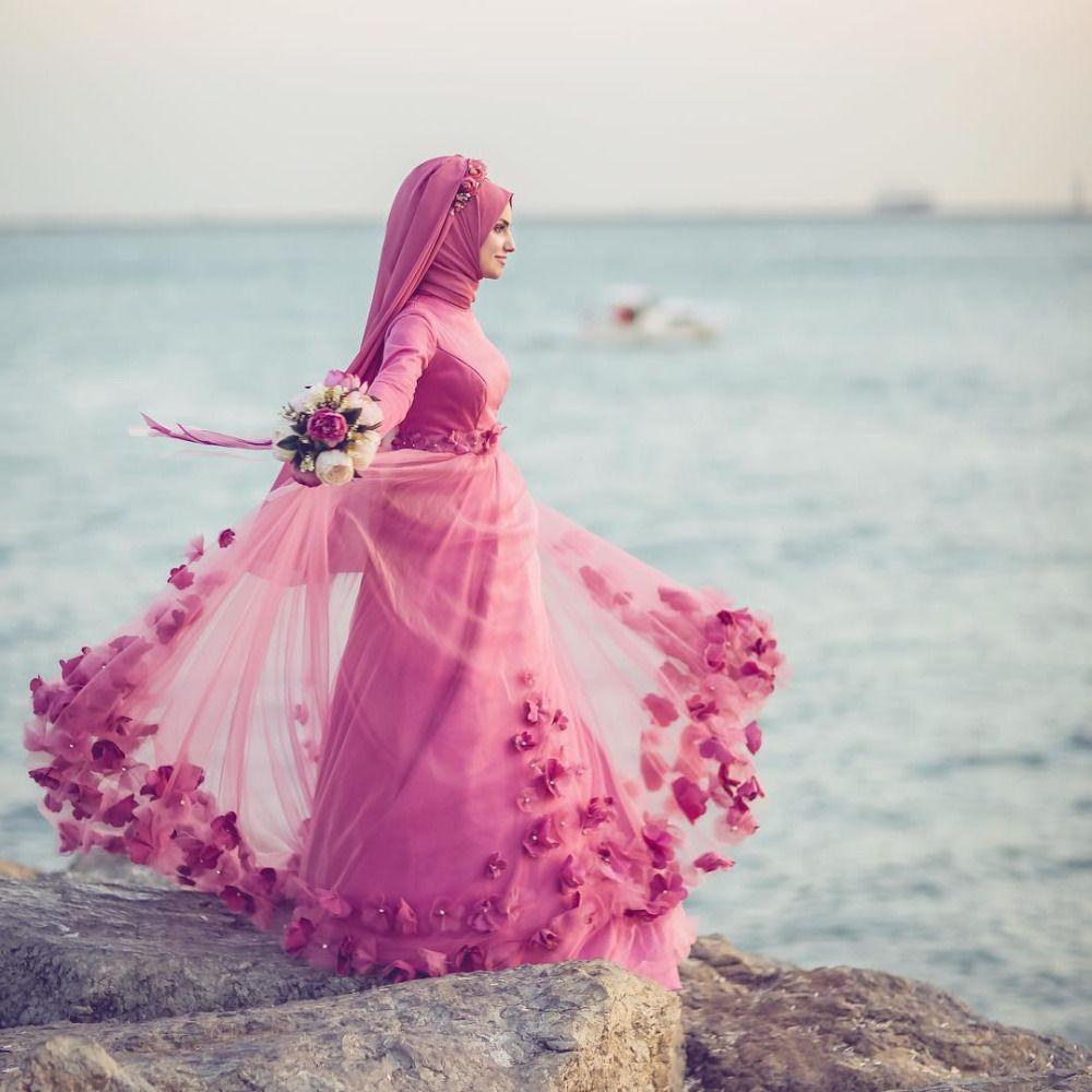 Venta al por mayor Vestido de novia de color rosa musulmán 2017 ...
