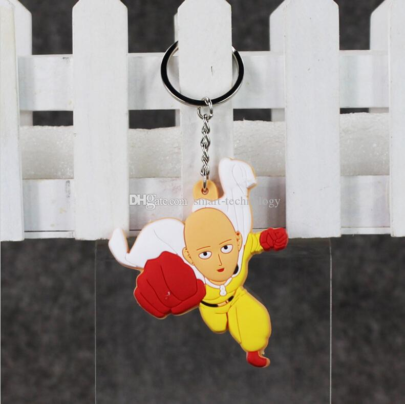 EMS 7cm One Punch Man Keychain PVC Action Figur Toy Pendant Modell Toy 10st / Lot Free Shipping