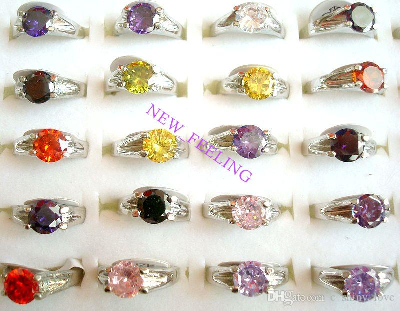 Wholesale 20pcs/lot many colors Beautiful Zircon Stone Rings mixed Size for Woman Jewelry Rings Low Price