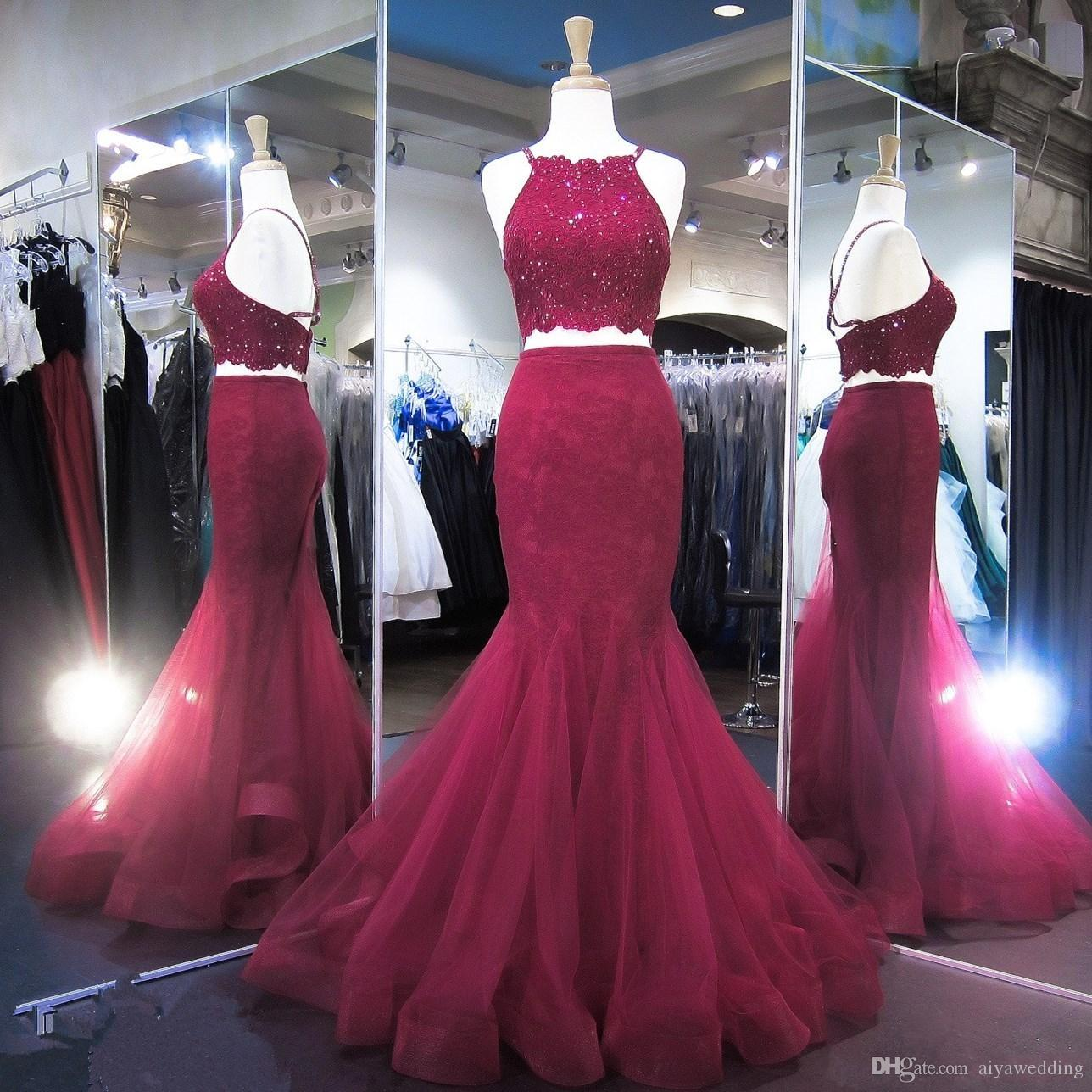 Burgundy Lace Two Pieces Prom Dresses Long Halter Neck Appliques African Mermaid Prom 2K18 Cheap Formal Party Gowns