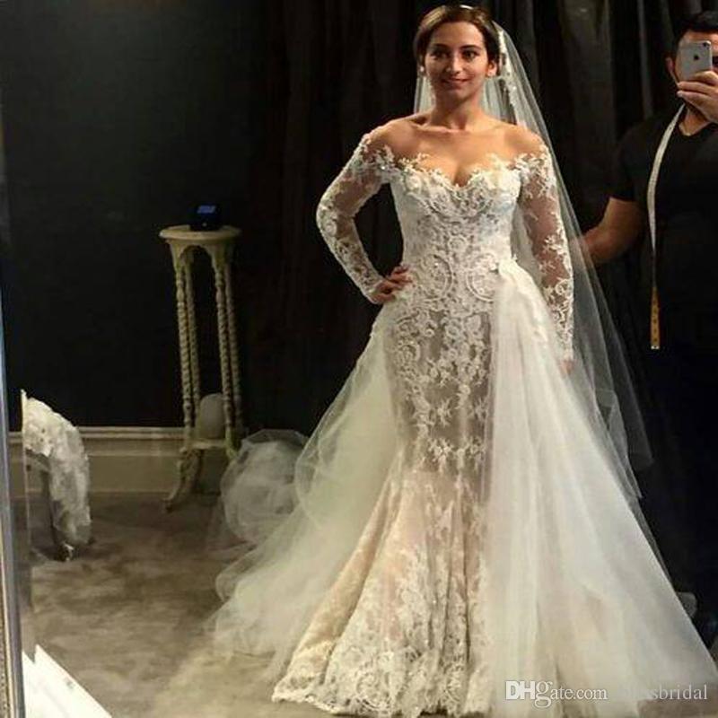 Off Shoulder Long Illustion Sleeve Wedding Dresses With Detachable Train 3D Lace Appliques Mermaid Wedding Gowns Tulle Vintage Bridal Dress