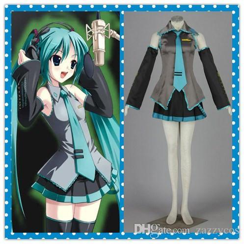 Full set VocAloid Hatsune Miku cosplay costume Uniform skirt Halloween anime