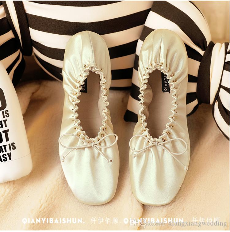 Cute Ballerina Flat Wedding Shoes Bridal Accessories Bow Satin Elastic Band Ribbon Casual Shoes Soft Comfortable Party Wear