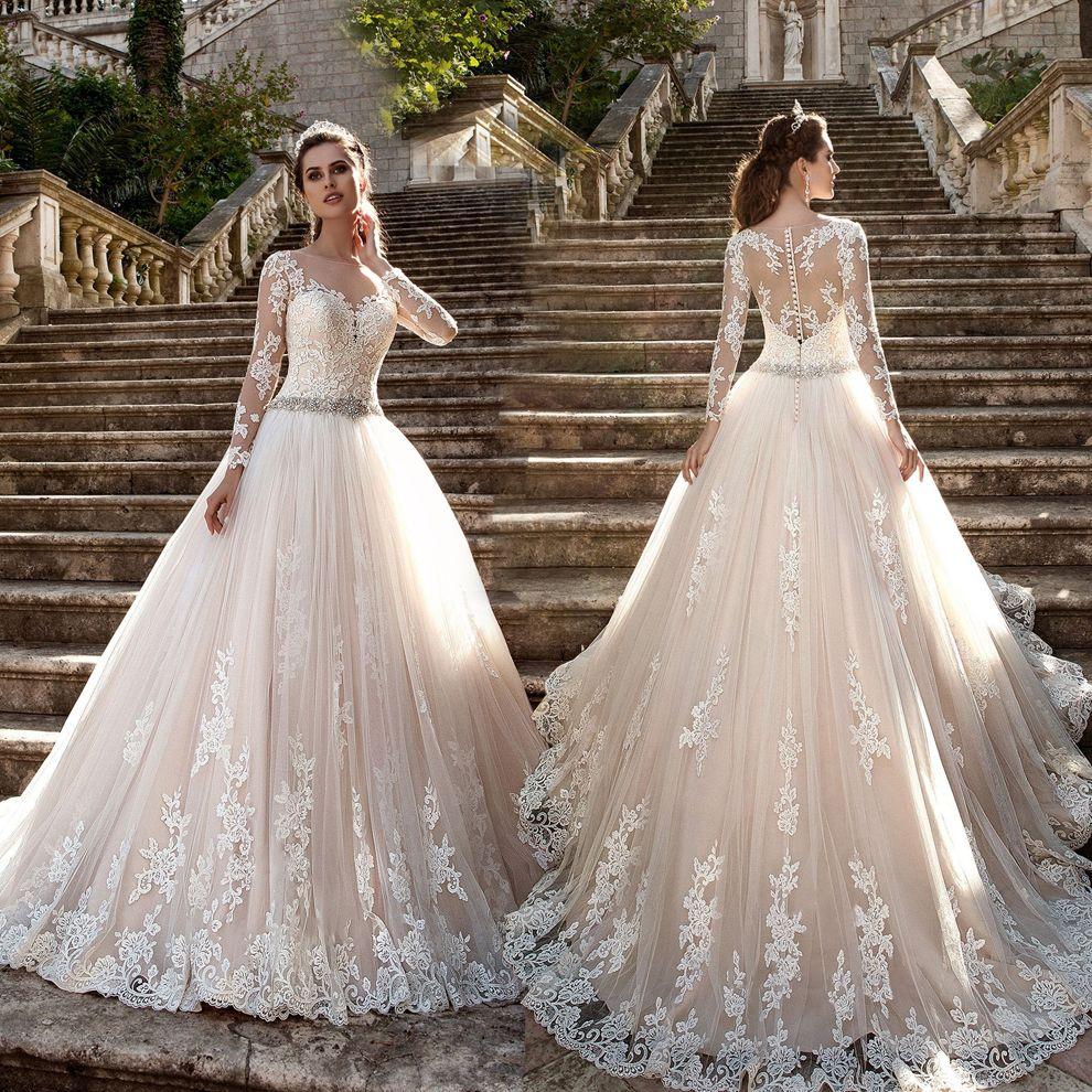 2020 Luxury Champagne Plus Size Wedding Dresses Sheer Neck Illusion Long Sleeves Lace Appliques Sash Bridal Gowns Princess Bride Dresses