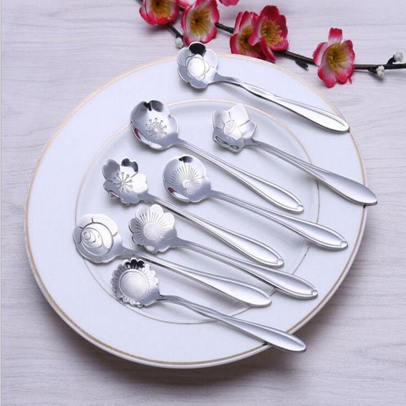 Herramienta de la cocina los platos y cubiertos en forma de artículos de mesa de flores de azúcar del acero inoxidable de té de plata cuchara de café cucharaditas de helado