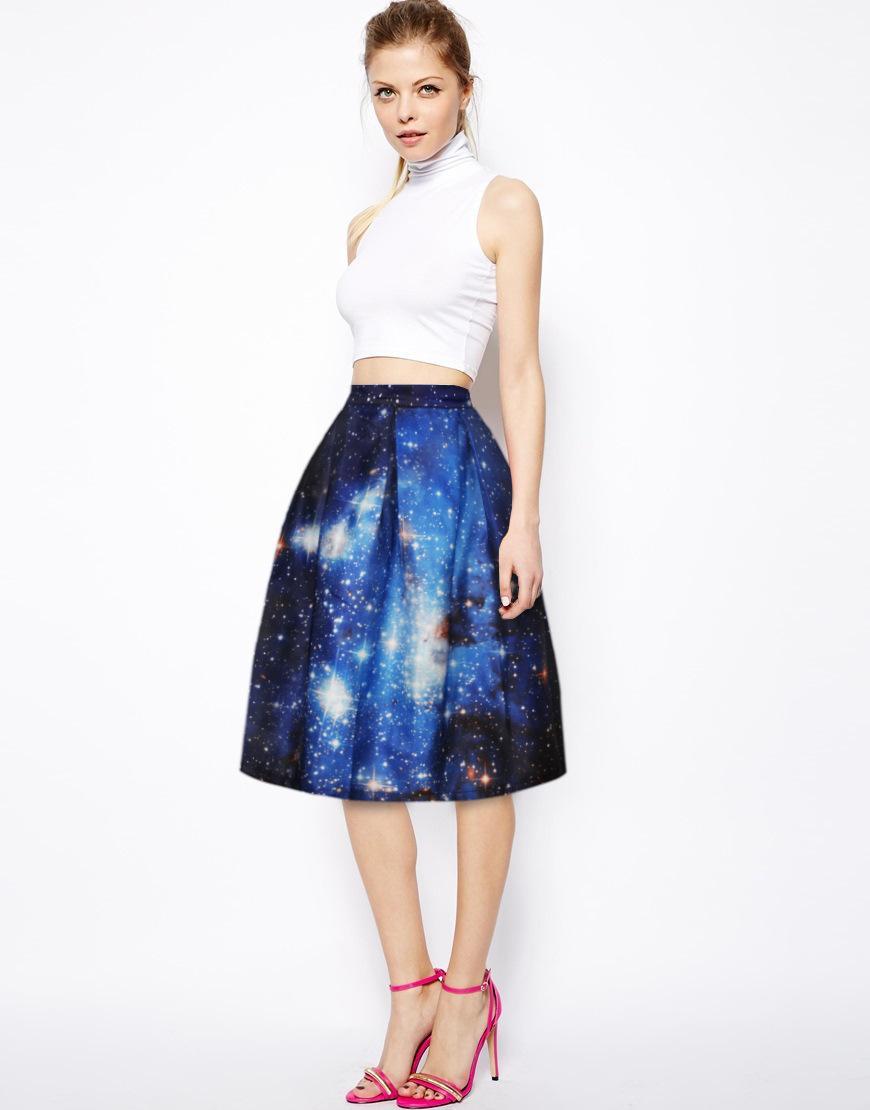 2017 Girl Kids Short Skirts Womens 3d Print Blue Galaxy Skirt Sexy ...