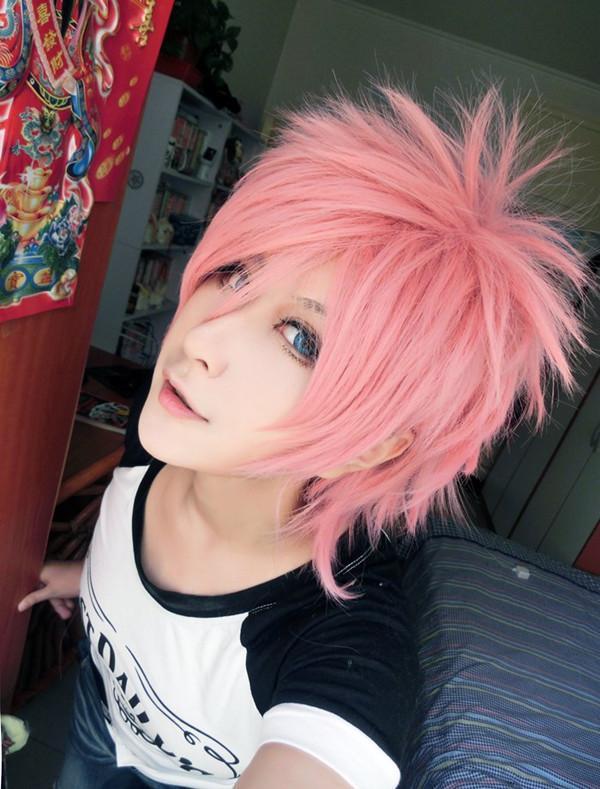 u Dragneel 13 pollici parrucche corte rosa degli uomini Parrucca Cosplay Anime