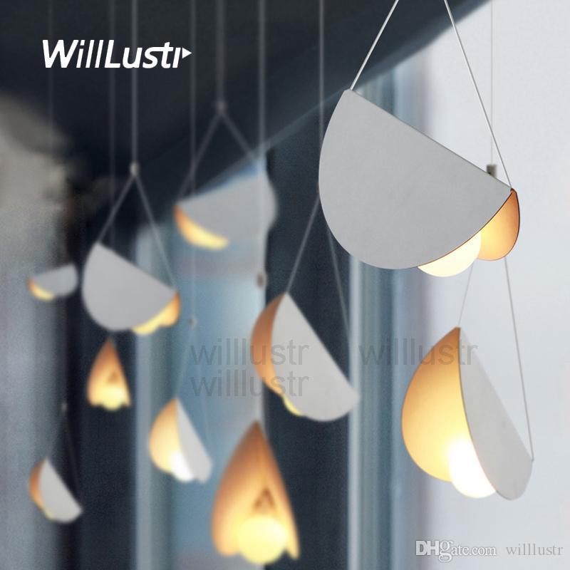 الطيران الحديثة رقة مطوية قلادة مصباح معدن اوريغامي فن الحديد LED معلق الإضاءة مقهى غرفة طعام مطعم الفندق ضوء شريط التعليق