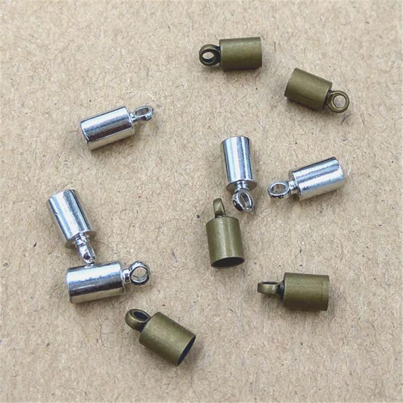 100pcs/lot Size 3.5mm Hole Original Bronze/Rhodium Plated Rope End Caps Vintage Crimp Beads Covers leather Clasps