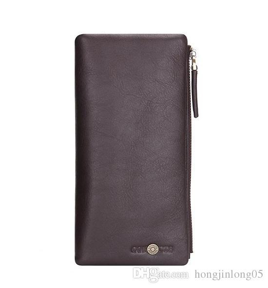 Бизнес повседневная мужчины кошельки длинные молнии дизайн телефон кошелек из натуральной кожи Мужской кошелек сцепления мужской M1004