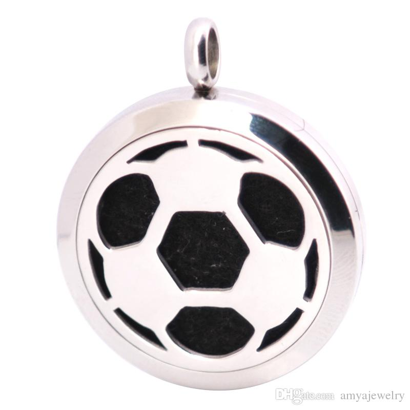 10pcs New Pattern Football 30mm Aromatherapy Essential Oil surgical Stainless Steel Necklace Pendant Perfume Diffuser Locket with Chain Pads