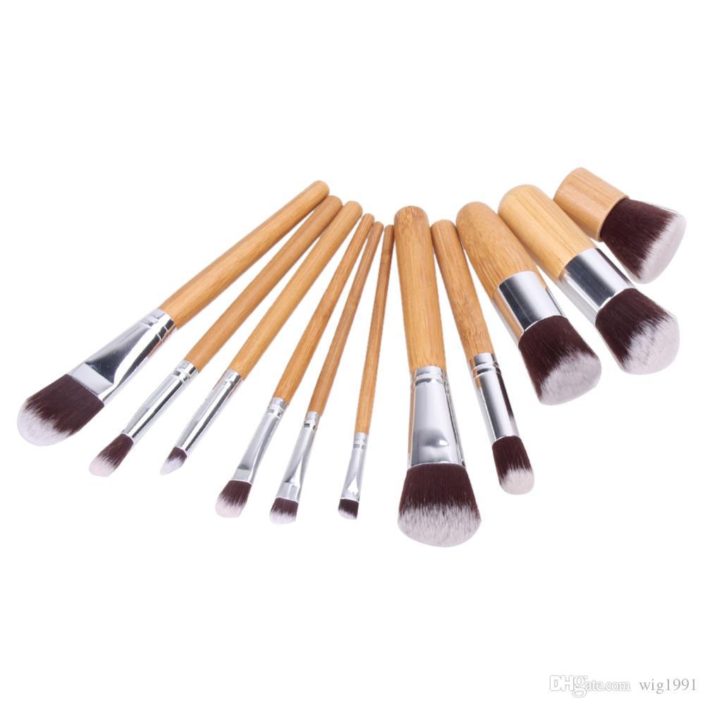11pcs del maquillaje profesional de los cepillos Fundación de Sombras en Polvo Mezcla cara del contorno de cepillo del maquillaje Blush Pincel cosméticos Herramientas