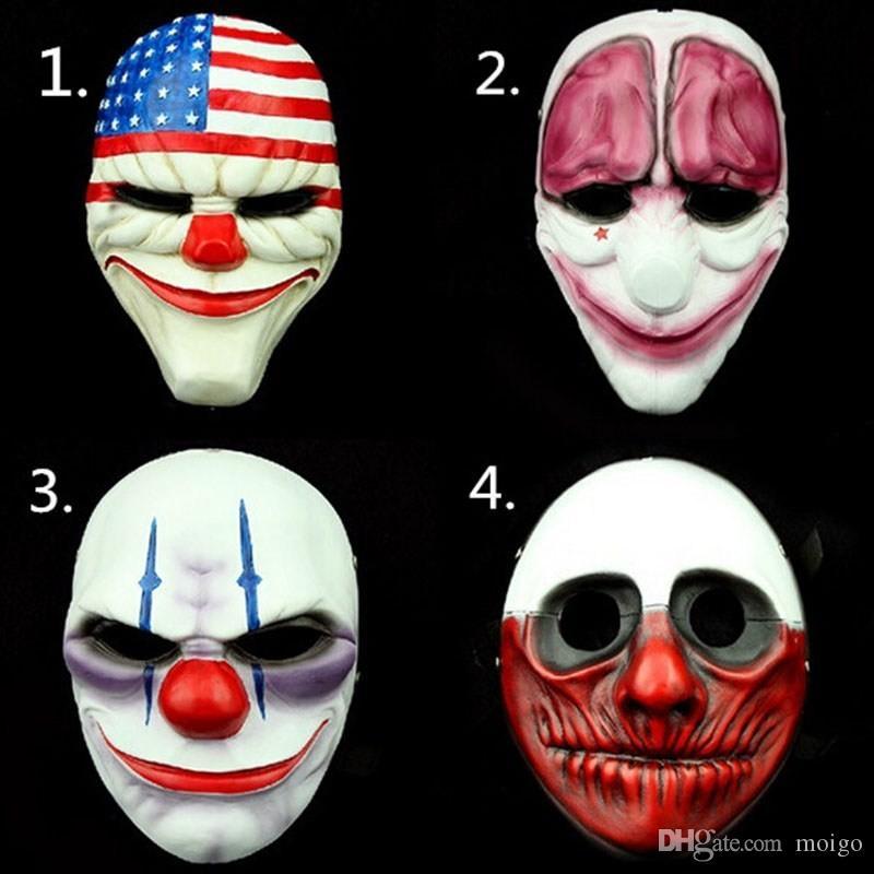 Maschera spaventosa del pagliaccio Maschera del PVC di giorno di pagaia Maschera di Halloween per la mascara del partito Carnaval