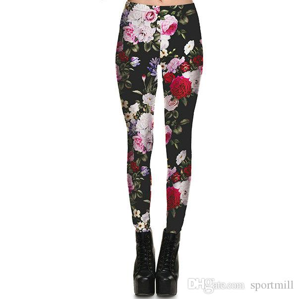 Flower peony pants Bloom opening retro tight Women gym clothing Leggings sport wear Fitness training sportwear Exercise trousers