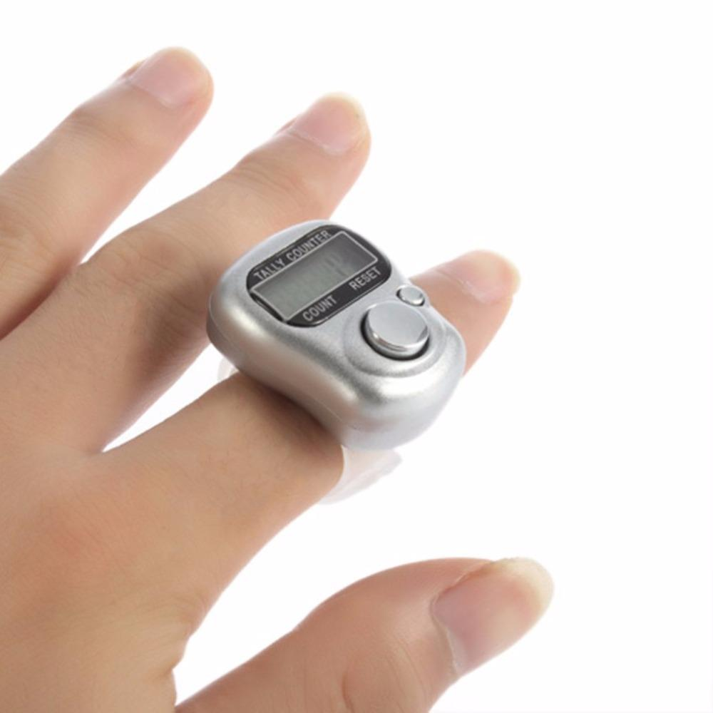 Wholesale- Mini 1pcs 5 Digital display Hand LCD Electronic screen Held Tally Counter Finger Ring Handheld Clicker People Counter Meter
