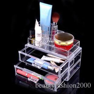 Esmalte de uñas Varnish Display soporte transparente de cristal 24 de escritorio plástico lápiz labial portador de cosmético