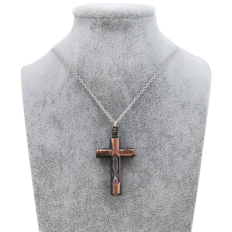 Originale nuova annata femminile Croce clessidra dei pendenti delle collane delle donne catena d'argento Gesù Crocifisso Collana Uomini preghiera Gioielli Maschio Christian