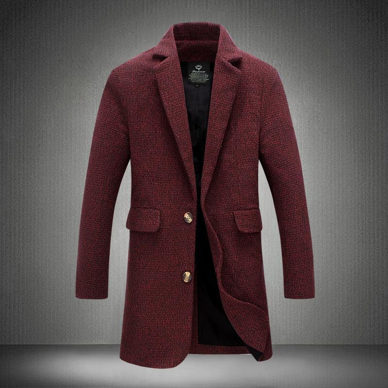 Toptan-5XL 2017 Yeni Trençkot Erkekler En Moda Stil Bahar Kış Palto Erkek Marka Giyim Kalite Şarap Kırmızısı Homme Trençkot