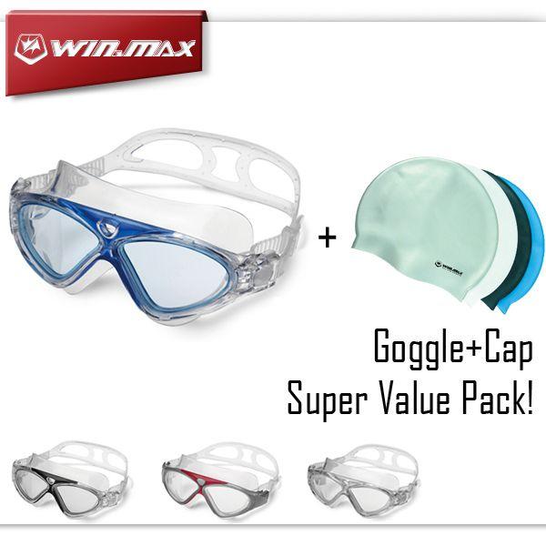 Winmax نظارات السباحة المهنية لمكافحة الضباب ومكافحة الأشعة فوق البنفسجية الكبار السباحة نظارات السباحة حملق السباحة كاب