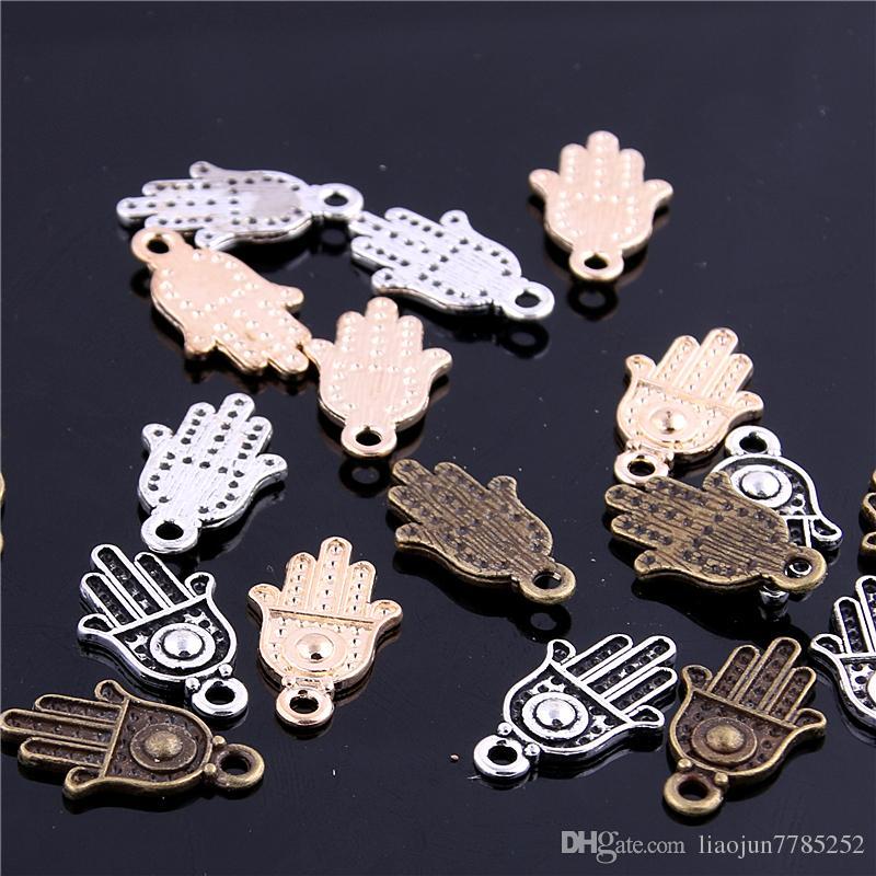 Süße Bell Mindestbestellmenge 80pcs Charm Anhänger Hamsa Hand / Palm Drei Farbe 12 * 20mm Großhandel Schmuck Charms D6113-1
