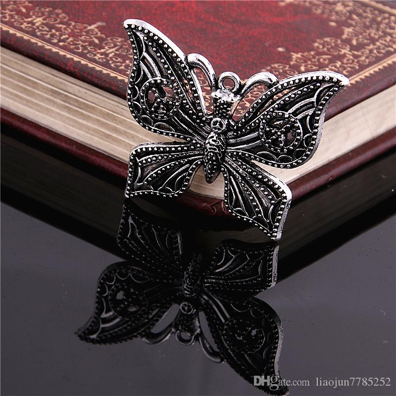 Sweet Bell Free Shipping Min order 15pcs 29*37MM Antique Silver Alloy peace Butterfly Charms Pendant Jewelry Findings D6115