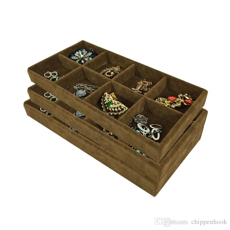 3Pcs High Quality Velvet Jewelry Display Tray Ring Earring Storage Box Brown Removable 8 Grid Earring Organizer Display Tray 11*22*3cm