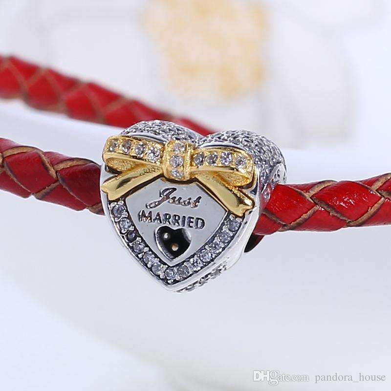 Nuevo Real 925 Plata de ley No Plateado Corazón Bowknot CZ Encantos Encantos Europeos Granos Fit Pandora Pulsera Joyería DIY