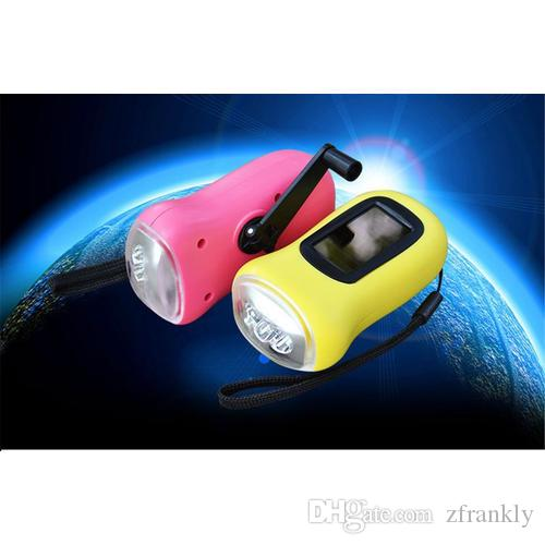 New 3 leds Mini Portable Hand Crank LED Solar Powered Flashlight Torch Dynamo outdoor hiking Portable camping daily carrying