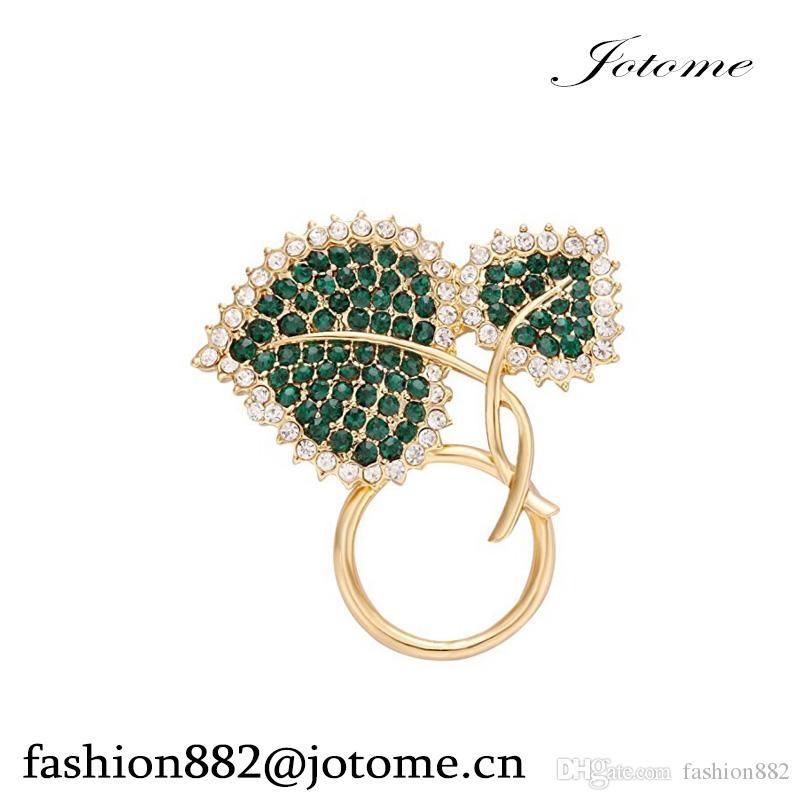 100pcs / lot 2017 Commercio all'ingrosso della Cina che splende Pin pieno del Brooch della clip del supporto del foglio verde di cristallo pieno per la camicia