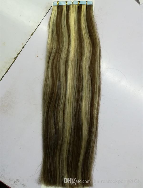 Nastro con doppia cuticola disegnata ELIBESS allineata in capelli umani 2.5g / pezzo capelli umani della trama della pelle di 40pieces / lot