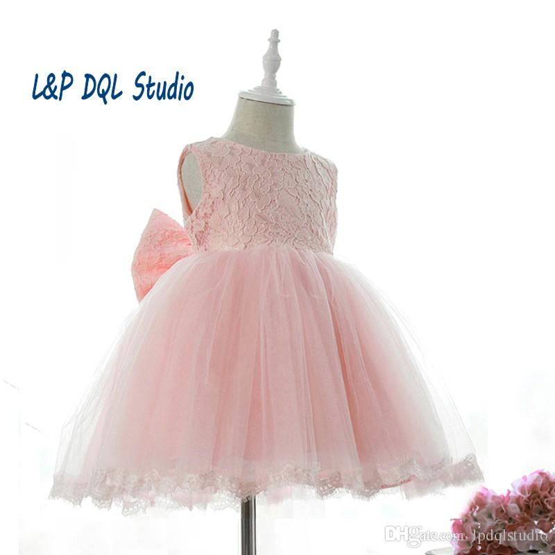 Tea-Length Pink Flower Girl's Dresses Cheap Tulle Lace Real Pictures Flower Girls Dresses Real Pictures New Arrival Free Shipping