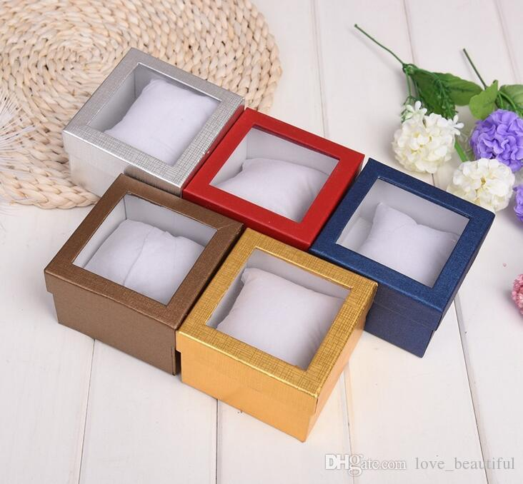60PCS Jewelry Charm Bracelet Watch Gift Boxes Cases Display Box 9*9*5.5cm Quality pearlescent paper window Wrist Watch box With pillow