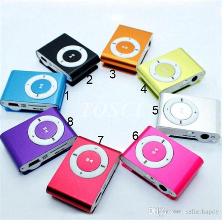 NEW Fashion Mini Cheap Clip Digital Mp3 Music Player USB with SD card Slot black silver mixed colors Freeshipping