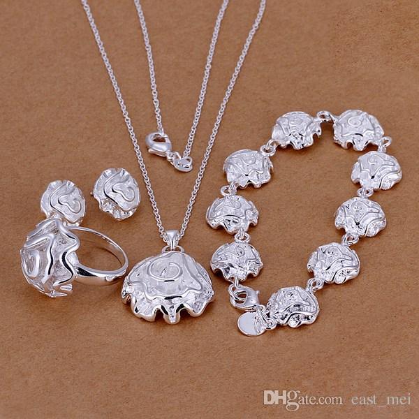 bestes Geschenk Rosen-Sterlingsilber überzog Schmucksatz für Frauen ES296, Halsketten-Armbandohrringsatz der Art und Weise 925 Silber