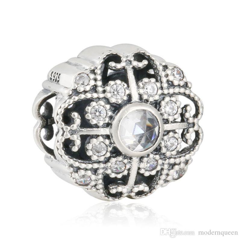 COMPARTIR Fairytale Bloom zircon charms beads S925 plata esterlina se ajusta para pulseras pandora envío gratis H9