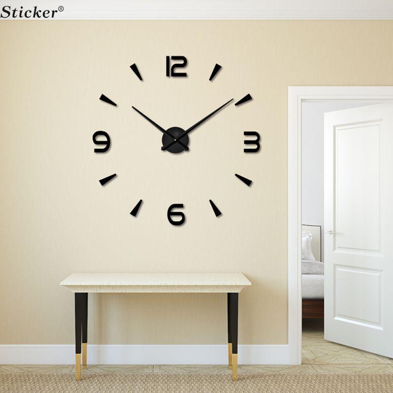 بالجملة، ديكور المنزل 3D كبيرة الحجم مرآة الحائط ملصقا ساعة الحائط DIY الاكريليك ملصقا مرآة ساعة الحائط غرفة المعيشة غرفة meetting