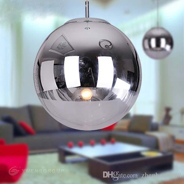 Modern Cam Küre Kolye Işık Krom Gölge Kolye Aydınlatma Yuvarlak Tavan Asılı Lamba armatür Mutfak Işık Fikstürü avize