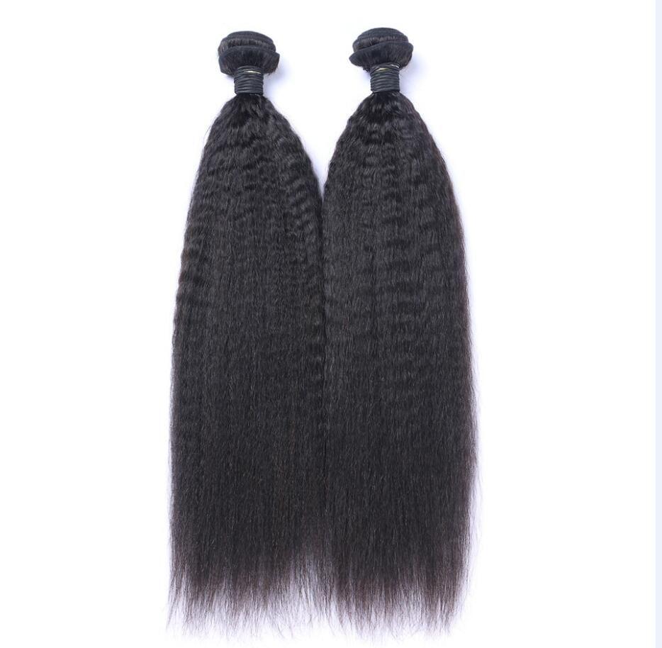 Kinky pelo humano de la Virgen malasia recta sin procesar del pelo de Remy teje tramas dobles 100g / 2bundle Bundle / lot se pueden teñir blanqueado