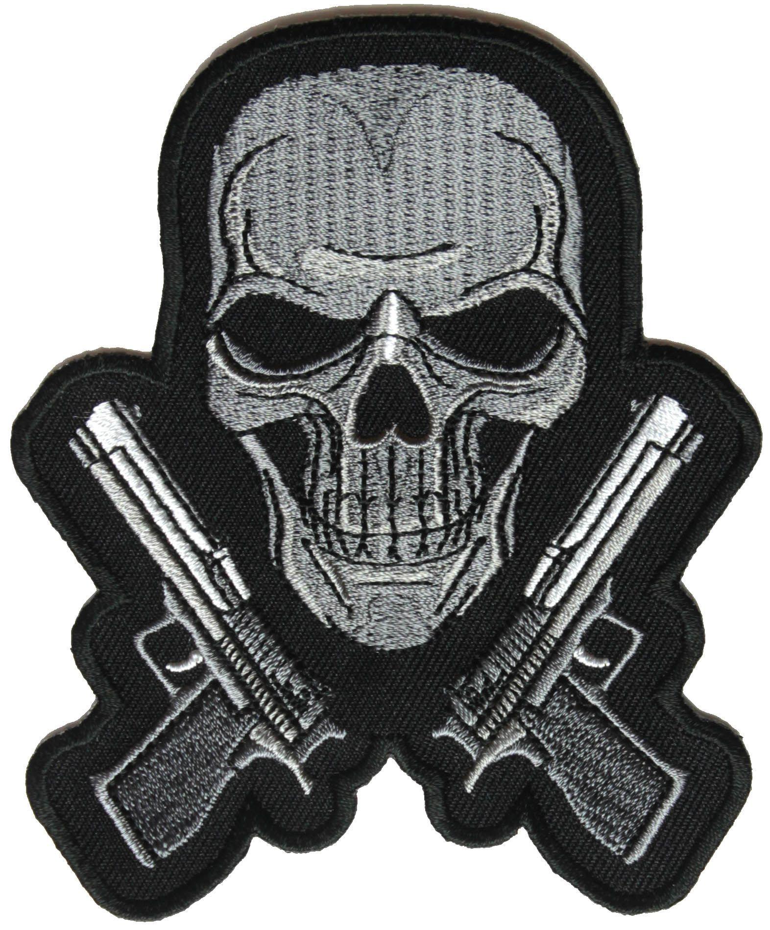Siyah ve Beyaz Guns ve Kafatası Metal İşlemeli Demir On DIY Aplike Geri Yama-3.5 * 4.25 INÇ Ücretsiz Kargo