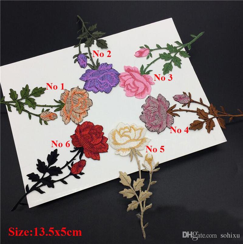 20 stücke Rose Blume Eisen Auf Flecken Bestickt Patch Für Kleidung Jean Jacke parches ropa Cocktailkleid Stoff Patchwork Abzeichen Appliques
