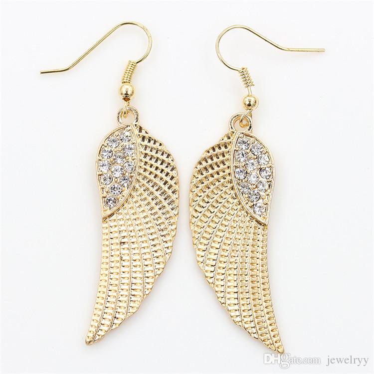 Crystal Angel Wing Earring Fashion Golden Silver Fish Ear Hook Antique Dangle Chandelier Women Pendant Earrings Party Jewelry Gift for Girls