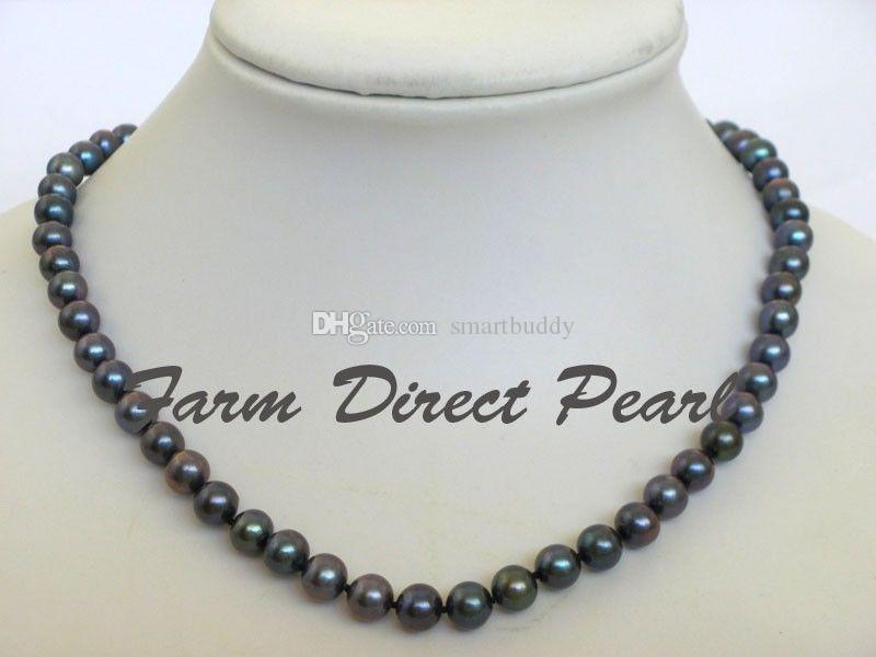 Nouveaux bijoux perles fines 16-19inches 7-8mm Collier Rond Noir Perle argent 925