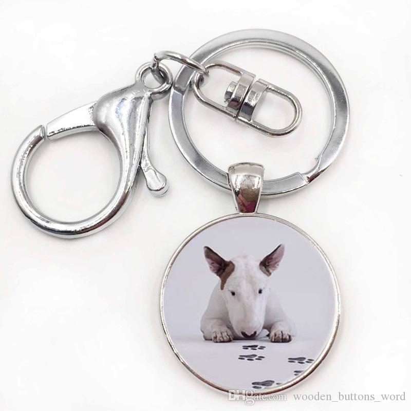 Bull Terrier Dog Cute Animal Photo Glass Vintage Keychain Men Women Steampunk Silver Keychain