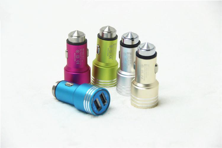 Martillo de seguridad Aleación de aluminio Real 1.3A Dual Port USB Cargador de coche universal para la protección de teléfono inteligente IC 200PCS / LOT
