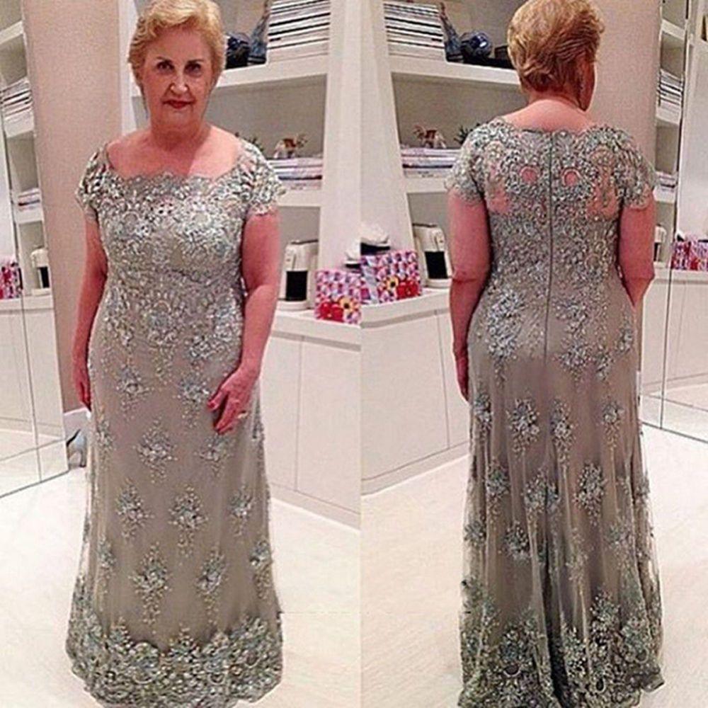 Серебро с коротким рукавом кружева оболочка платье для матери невесты новый длина пола хрустальные бусины аппликации вечерние платья нестандартного размера топ ручной работы