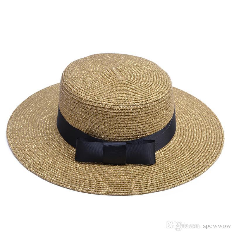 Lawliet Ladies Old Time Flat Top Boater Robe de plage Vacances Paillettes Bowtie Beach Hat T241