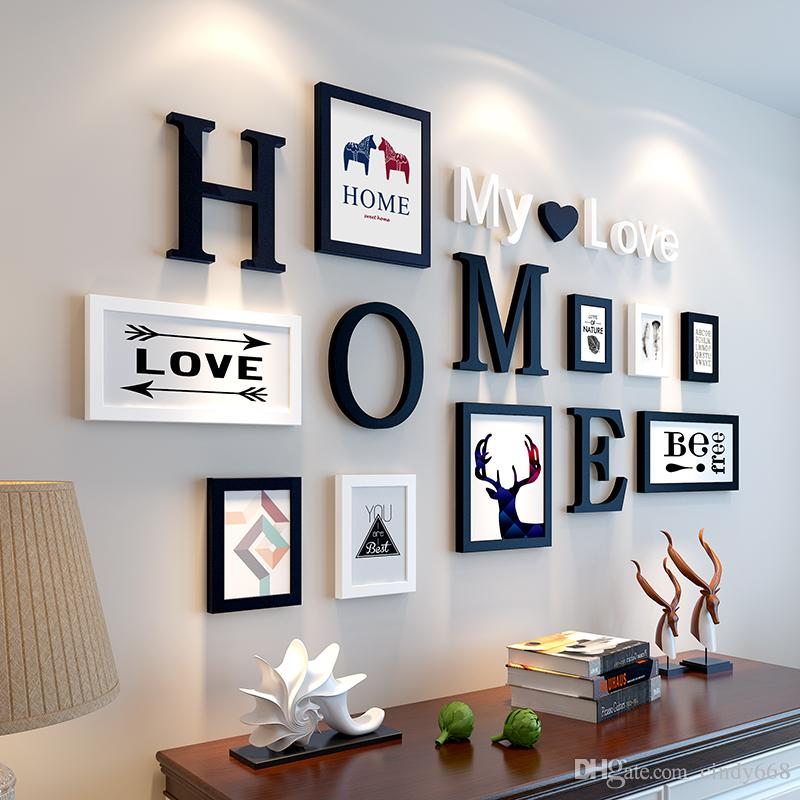Stype européenne Home Design d'amour de mariage Cadre photo Décoration murale en bois Cadre Photo Set mur Cadre photo Set, noir Home Décor blanc