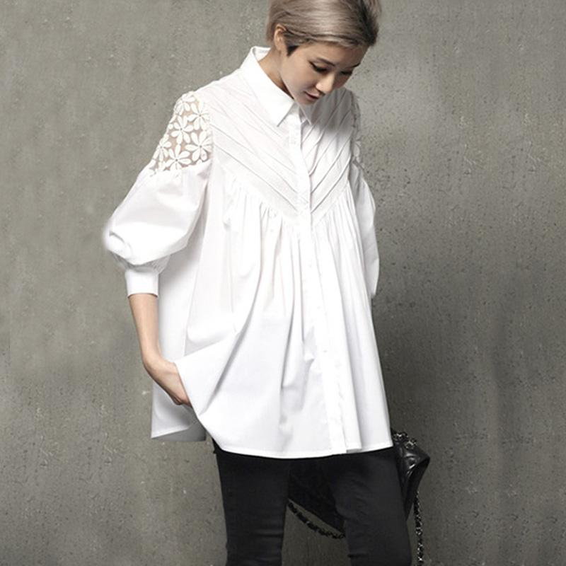 2017 весна осень новый кружева шить тонкий рубашка и блузка фонарь рукав свободные корейский выдалбливают женский топы рубашка блузка