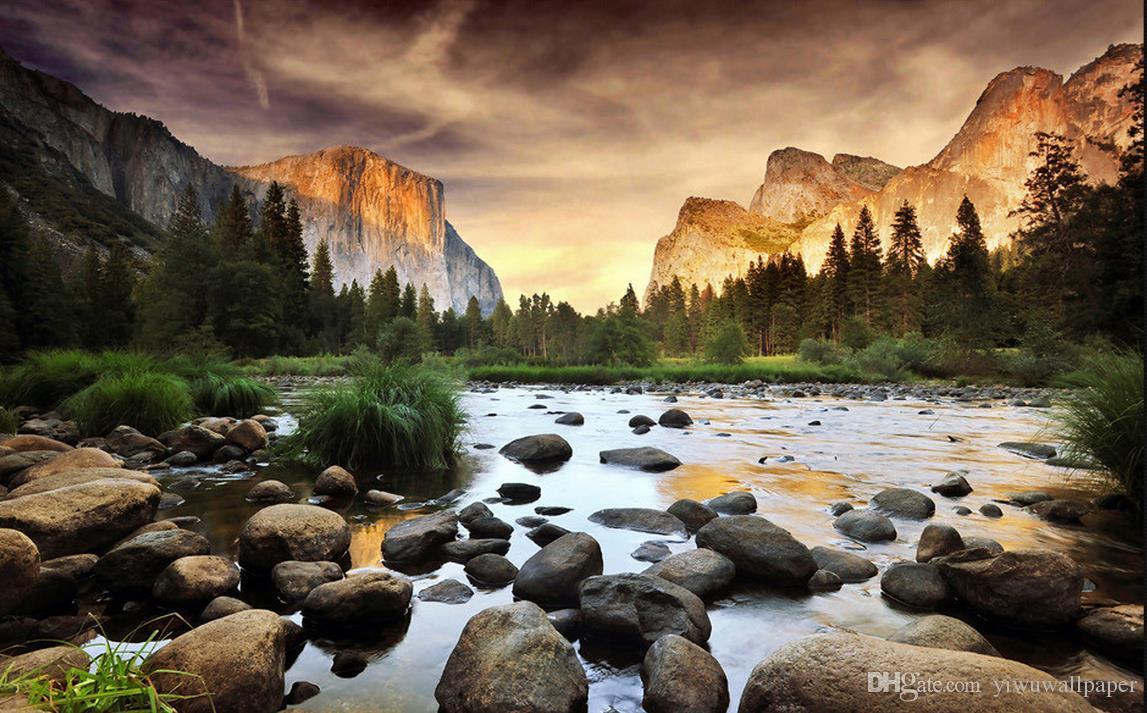 Güzel fotoğraflar Yellowstone park TV seti duvarlar için duvar kağıdı 3 d oturma odası için