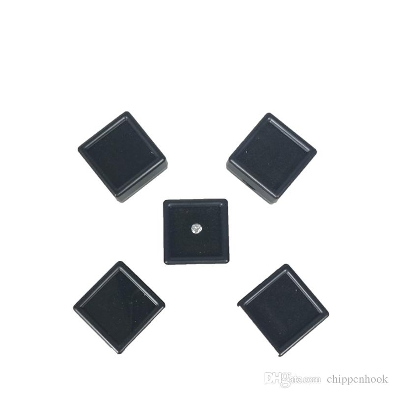 50Pcs Square Plastic Loose Diamond Display Package Box White Gem Case Black White Foam Pad Beads Pendant Box White Gem Showcase 3*3*2 cm